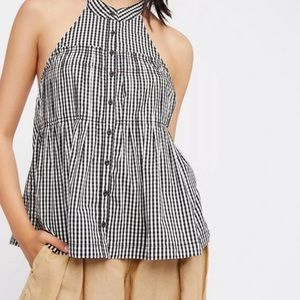 Free People Gingham Halter Top